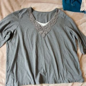 Catherine's Gray elbow sleeve lace top